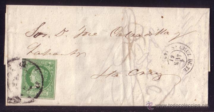 ESPAÑA. 1861. CTA. CORREO INTERIOR D STA. CRUZ DE TENERIFE (CANARIAS). 2 CTOS. MAGNÍFICA Y RARÍSIMA. (Sellos - España - Isabel II de 1.850 a 1.869 - Cartas)