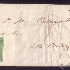 Sellos: ESPAÑA. 1861. CTA. CORREO INTERIOR D STA. CRUZ DE TENERIFE (CANARIAS). 2 CTOS. MAGNÍFICA Y RARÍSIMA.. Lote 25598555