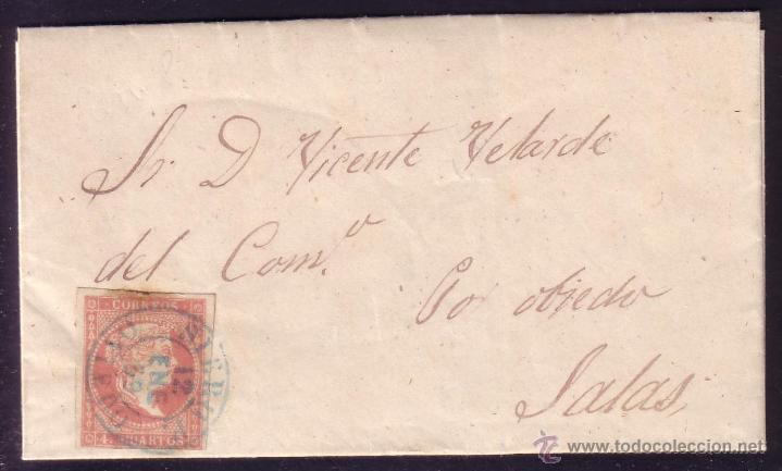 ESPAÑA.(CAT.48).1859.CARTA D LLAMAS DE PARRÉS. 4 CTOS.MAT. *SIERO P./OVIEDO* T.I AZUL.RARÍSIMA.LUJO. (Sellos - España - Isabel II de 1.850 a 1.869 - Cartas)