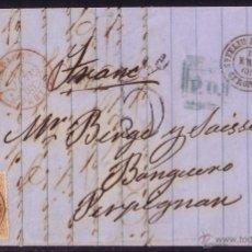 Sellos: 1868.CARTA DE S.FELIU DE GUIXOLS A FRANCIA.12 CTOS.MAT.SAN FELIU DE GUIXOLS/GERONA.RARA Y DE LUJO.. Lote 27019557