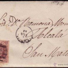 Sellos: ESPAÑA. (CAT. 58A). 1863. CARTA DE VALENCIA A SAN MATEO. 4 CTOS. MAT. BARRAS DE VALENCIA. MUY RARA.. Lote 37271793