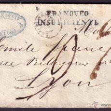 Sellos: (CAT.65).1864.SOBRE BARCELONA A FRANCIA.12 C.MAT.BARCELONA.MARCA *FRANQUEO/INSUFICIENTE*.MUY RARA.. Lote 26147680
