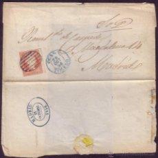 Sellos: ESPAÑA. (CAT.44). 1856. CARTA DE OCAÑA (TOLEDO). FECHADOR OVALADO DE MADRID DE PRIMER DÍA. ÚNICA.. Lote 37251354