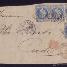 Sellos: FRANCIA.(CAT. 29-I).1868.FRONTAL DE MARSELLA A CÁDIZ. CUATRO SELLOS 20 C. MARCA *CÁDIZ/FRANCO*.RARO.. Lote 25040669