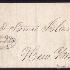 Sellos: ESPAÑA. 1869. CARTA D SAN FERNANDO (CÁDIZ) A NUEVA YORK. MARCA ENCAMINADOR ESPAÑOL EN LONDRES. RRR.. Lote 27441363