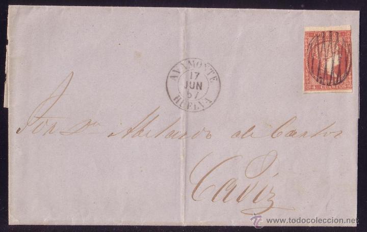(CAT.48).1857.CARTA D AYAMONTE (HUELVA) A CÁDIZ.4 C.MAT.*PARRILLA DE ROMBOS*.PIEZA ÚNICA.CERT.GRAUS. (Sellos - España - Isabel II de 1.850 a 1.869 - Cartas)