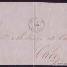 Sellos: (CAT.48).1857.CARTA D AYAMONTE (HUELVA) A CÁDIZ.4 C.MAT.*PARRILLA DE ROMBOS*.PIEZA ÚNICA.CERT.GRAUS.. Lote 24866404