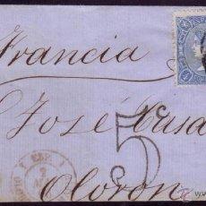 Sellos: ESPAÑA.(CAT.75,81).1866.CUBIERTA HUESCA A FRANCIA.FRANQUEO MIXTO DOS EMISIONES 4 C.ÚNICA.CERT. GRAUS. Lote 24866456