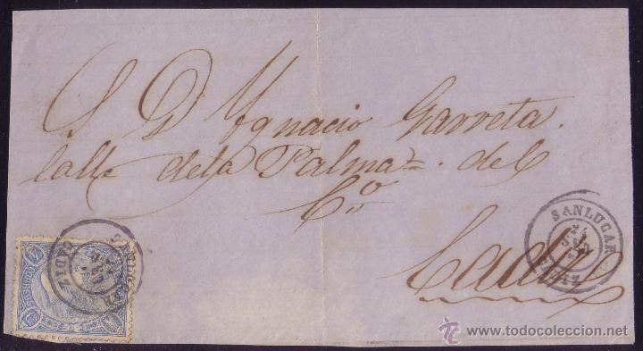ESPAÑA. (CAT. 75A). 1865. FRONTAL DE SANLUCAR A CÁDIZ. 4 CTOS. MAT. * SANLUCAR/CÁDIZ *. MAGNÍFICO. (Sellos - España - Isabel II de 1.850 a 1.869 - Cartas)