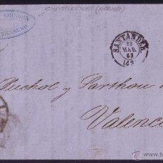 Sellos: 1863.IMPRESO DE NORUEGA A VALENCIA.4 CTOS.MAT.R.C.43 SANTANDER.MARCA *ENCAMINADOR DE SANTANDER*.RRR.. Lote 23867419