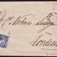 Sellos: ESPAÑA. (CAT. 81). 1866. CARTA DE VALLADOLID A TORDESILLAS. 4 CTOS. FECHADOR CON VARIEDAD. RARA.. Lote 25472593