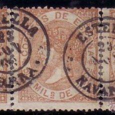 Sellos: ESPAÑA. (CAT. 96 (3)). 50 MLS. TRES SELLOS FORMANDO TIRA DE TRES. MAT. ESTELLA (NAVARRA). LUJO.. Lote 37281958
