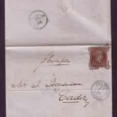 Sellos: ESPAÑA.(CAT.40).1856.CARTA DE GIBRALTAR A CÁDIZ.4 C.DENTADO PARTICULAR.FECHADOR SAN ROQUE.RARÍSIMA. Lote 26858971