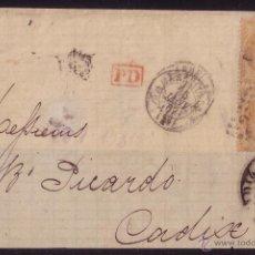 Sellos: FRANCIA/ESPAÑA. (CAT. 23). 1867. FRONTAL DE MARSELLA A CÁDIZ. MARCA * CÁDIZ/FRANCO *. BONITA Y RARA.. Lote 25040680