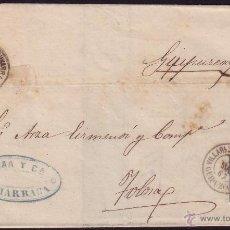 Sellos: ESPAÑA. (CAT. 88). 1867. CUBIERTA DE V. DE ZUMARRAGA A TOLOSA. 4 CTOS. MAT. FECHADOR. MUY RARA.. Lote 37716335