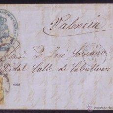 Sellos: ESPAÑA.(CAT.52).1861.CARTA DE MADRID A VALENCIA.4 CTOS. MARCA DEL * SASTRE DEL REY * AZUL. RARÍSIMA.. Lote 25764907