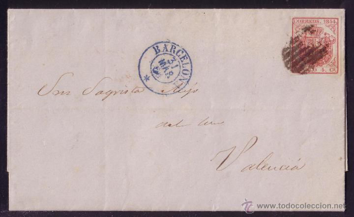 1855 (31 MAR.).CARTA DE BARCELONA A VALENCIA.FRANQUEO DE 4 CTOS.ÚLTIMO DÍA DE CIRCULACIÓN. MUY RARA. (Sellos - España - Isabel II de 1.850 a 1.869 - Cartas)