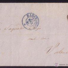 Sellos: 1855 (31 MAR.).CARTA DE BARCELONA A VALENCIA.FRANQUEO DE 4 CTOS.ÚLTIMO DÍA DE CIRCULACIÓN. MUY RARA.. Lote 26541219
