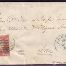 Sellos: ESPAÑA. (CAT. 48). 1856. CARTA DE ALMARZA A SORIA. 4 CTOS. PARRILLA AZUL. FRAUDE POSTAL. MUY RARA.. Lote 26562797