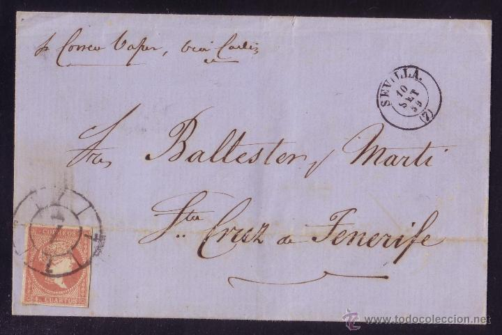 ESPAÑA.(CAT.48).1859.CARTA D SEVILLA A TENERIFE (CANARIAS).MANUSCRITO *PR.CORREO VAPOR,VÍA CADIZ*.RR (Sellos - España - Isabel II de 1.850 a 1.869 - Cartas)