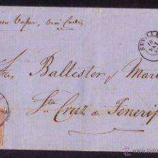 Sellos: ESPAÑA.(CAT.48).1859.CARTA D SEVILLA A TENERIFE (CANARIAS).MANUSCRITO *PR.CORREO VAPOR,VÍA CADIZ*.RR. Lote 26581609