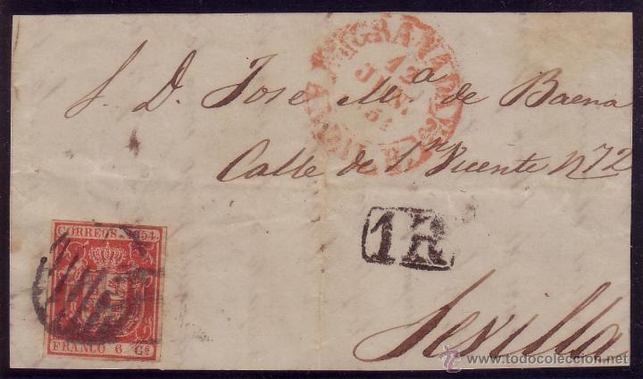ESPAÑA. (CAT. 24).1854.FRONTAL DE GRANADA A SEVILLA.FRANQUEO. 6 CTOS. MULTADA CON * 1R *. MUY RARA. (Sellos - España - Isabel II de 1.850 a 1.869 - Cartas)