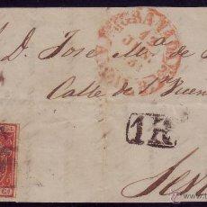 Sellos: ESPAÑA. (CAT. 24).1854.FRONTAL DE GRANADA A SEVILLA.FRANQUEO. 6 CTOS. MULTADA CON * 1R *. MUY RARA.. Lote 27441241