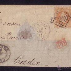 Sellos: FRANCIA.(CAT.31(2)).1868. FRONTAL D MARSELLA A CÁDIZ. DOS SELLOS 40 C. AL LADO *CADIZ/FRANCO*. RARA.. Lote 25040649