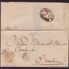 Sellos: ESPAÑA. (CAT. 96). 1868. CARTA DE LUARCA (OVIEDO) A BARCELONA. 50 MLS. FRAUDE POSTAL. MUY RARA.. Lote 26952546