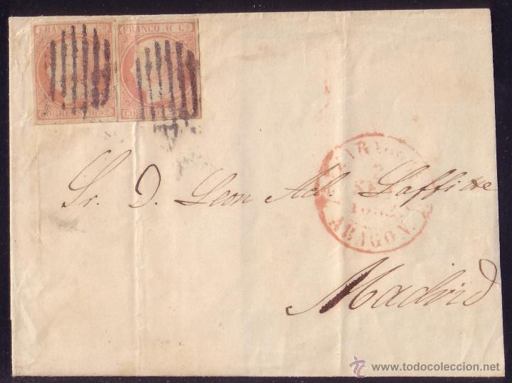 ESPAÑA. (CAT.12).1852.CUBIERTA DE ZARAGOZA A MADRID.DOS SELLOS 6 CTOS. MAT. REJILLA DE ZARAGOZA. RR. (Sellos - España - Isabel II de 1.850 a 1.869 - Cartas)
