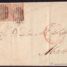 Sellos: ESPAÑA. (CAT.12).1852.CUBIERTA DE ZARAGOZA A MADRID.DOS SELLOS 6 CTOS. MAT. REJILLA DE ZARAGOZA. RR.. Lote 24403639