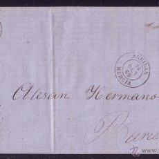 Sellos: 1860.CTA.DE AGUILAS (MURCIA) A BARCELONA.FRANQUEO 4 CTOS.VARIEDAD MARCO SUPERIOR, UNO POR HOJA.M. RR. Lote 24540289