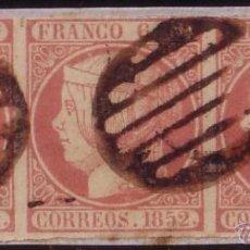 Sellos: ESPAÑA(CAT.12IT,12).6C.TIRA D TRES S.FRAG.UN SELLO VARIEDAD SIN PUNTO ENTRE CORREOS Y 1852.MUY RARA.. Lote 22542925