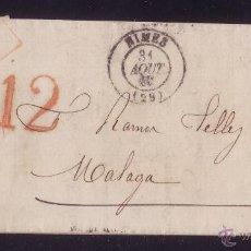 Sellos: FRANCIA/ESPAÑA.(CAT. 29-I).1868.CARTA NIMES A MÁLAGA. 20C.MARCA*FRANQUEO INSUFICIENTE*.TASA*12*CTOS.. Lote 24588292