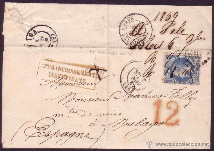 FRANCIA/ESPAÑA. (CAT. 29-II). 1869. CARTA DE BLOIS A MÁLAGA. 20 CTS. TASA ESPAÑOLA *12 *. MUY RARA. (Sellos - España - Isabel II de 1.850 a 1.869 - Cartas)