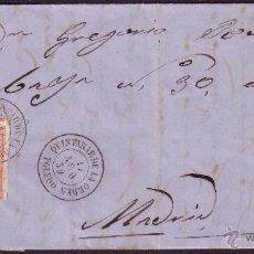 Sellos: ESPAÑA. (CAT. 48). 1859. CARTA DE QUINTANAR DE LA ORDEN (TOLEDO) A MADRID. 4 CTOS. MAT. FECHADOR.. Lote 38385891