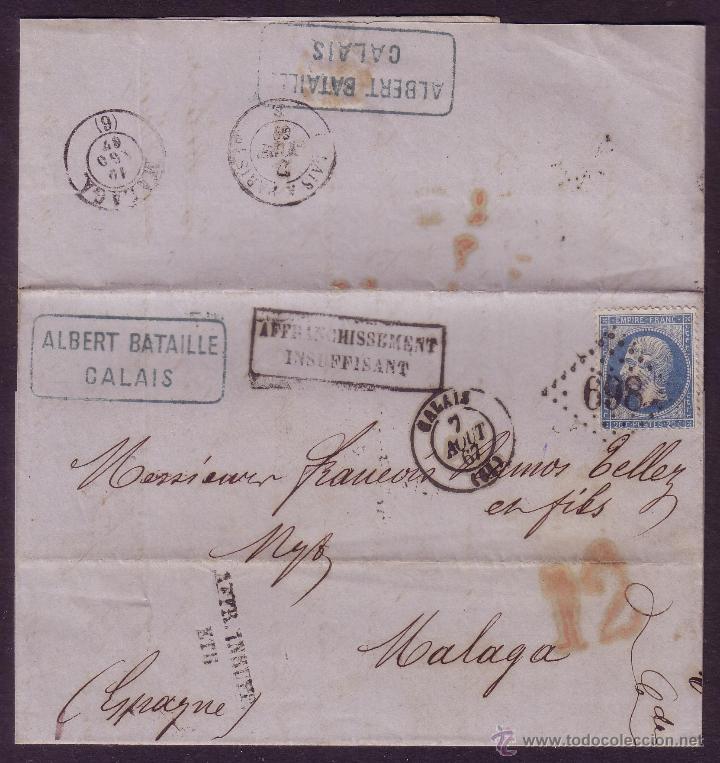 FRANCIA/ESPAÑA.(CAT.22).1867.CARTA DE CALAIS A MÁLAGA.MARCAS FRANQ. INSUFICIENTE.PORTEO ESPAÑOL *12* (Sellos - España - Isabel II de 1.850 a 1.869 - Cartas)