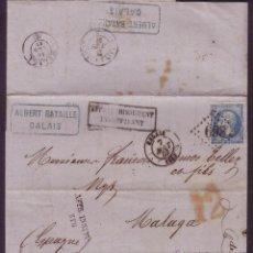 Sellos: FRANCIA/ESPAÑA.(CAT.22).1867.CARTA DE CALAIS A MÁLAGA.MARCAS FRANQ. INSUFICIENTE.PORTEO ESPAÑOL *12*. Lote 21957430