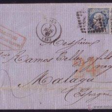 Sellos: FRANCIA/ESPAÑA.(CAT.22).1867.CARTA DE CAEN A MÁLAGA.FRANQUEO INSUFICIENTE Y TASA ESPAÑOLA *24* CTOS.. Lote 23890543