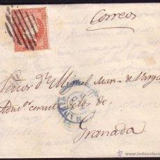 Sellos: ESPAÑA. (CAT. 44). 1856. CARTA DE MADRID A GRANADA. 4 CTOS. MAT. REJILLA. MNS. *CORREOS*. MAGNÍFICA.. Lote 37316518