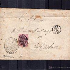 Sellos: CARTA DE 1863, ENVIADA DE JAEN A HUELMA, SELLO CORREO OFICIAL UNA ONZA, SALIDA Y LLEGADA. Lote 40458650