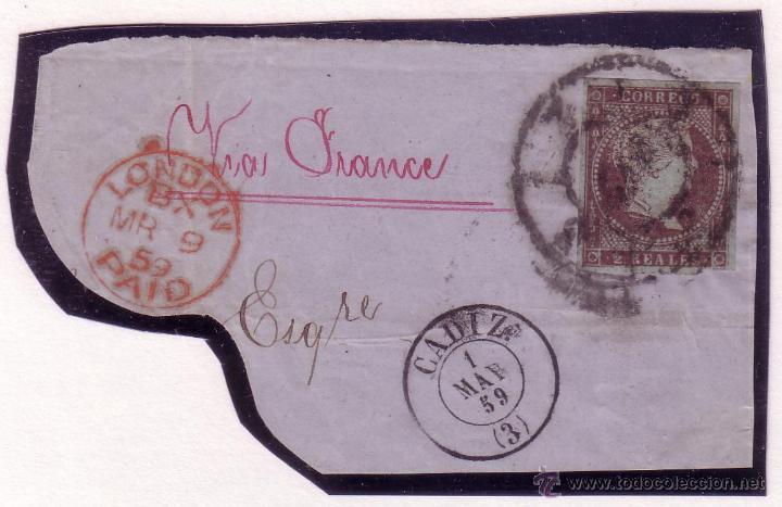 ESPAÑA.(CAT.42). 2 REALES. SOBRE GRAN FRAGMENTO. FECHADORES DE CÁDIZ Y LONDRES ROJO.MAGNÍFICO Y RARO (Sellos - España - Isabel II de 1.850 a 1.869 - Usados)