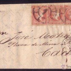 Sellos: (CAT.48)1859.CARTA DE MADRID A CÁDIZ.FRANQUEO DE CUATRO PORTES.MUY RARO FRANQUEO MÚLTIPLE.MAGNÍFICA.. Lote 26858959