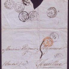 Sellos: ESPAÑA.1859.CARTA DE MADRID A FRANCIA.SIN FRANQUEO.FECHADORES AMBULANTES.MAGNÍFICA Y RARA.. Lote 27256283