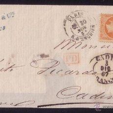 Sellos: FRANCIA/ESPAÑA. (CAT. 23). 1867. CUBIERTA DE PARÍS A CÁDIZ. MARCA *CADIZ/FRANCO*. MUY BONITA Y RARA.. Lote 26213505