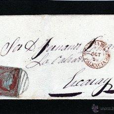 Sellos: ENVUELTA 4 CUARTOS ROJO ISABEL II 1855 EDIFIL Nº 40 DE HERRERA DEL RIO PISUERGA (PALENCIA) A EZCARAY. Lote 40826018