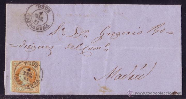 ESPAÑA.(CAT.52).1861.CARTA DE REUS A MADRID.FRANQUEO 4 CTOS. MAT. FECHADOR DE, REUS/TARRAGONA. LUJO. (Sellos - España - Isabel II de 1.850 a 1.869 - Cartas)