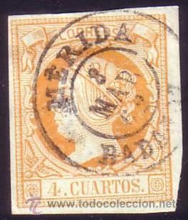 ESPAÑA. (CAT. 52). 4 CTOS. MAT. FECHADOR TIPO II DE, MÉRIDA (BADAJOZ). MUY BONITO. (Sellos - España - Isabel II de 1.850 a 1.869 - Usados)