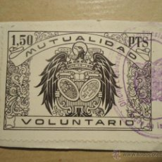 Sellos: ANTIGUO SELLO 1,50 PTS PESETAS MUTUALIDAD VOLUNTARIO SELLADO OFICINA LIQUIDADORA ARCOS FRA. CADIZ. Lote 41410562