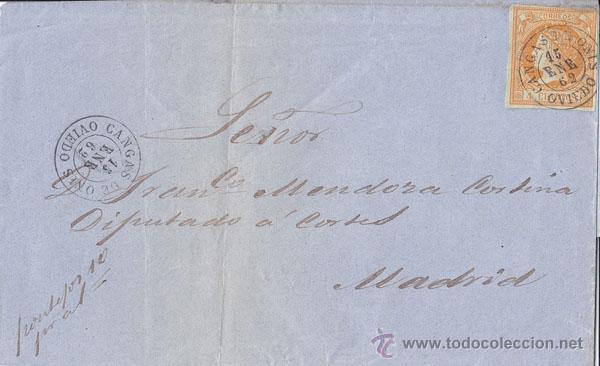 ENVUELTA CIRCULADA DE CANGAS DE ONIS (ASTURIAS) A MADRID. 4 CUARTOS. 1862 (Sellos - España - Isabel II de 1.850 a 1.869 - Cartas)